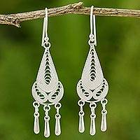 Sterling silver filigree earrings, 'Cycles' - Sterling silver filigree earrings