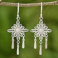 Sterling silver filigree earrings, 'Enchanted Forest' - Sterling Silver Chandelier Earrings