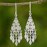 Sterling silver chandelier earrings, 'Silver Foliage'