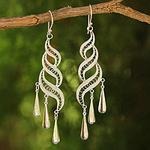 Sterling Silver Chandelier Earrings, 'Sterling Allure'