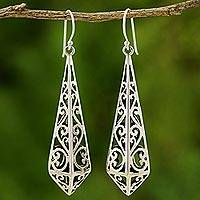 Sterling silver dangle earrings, 'Graceful Buds'