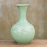 Celadon ceramic vase, 'Traveling Elephants' - Handcrafted Celadon Ceramic Vase