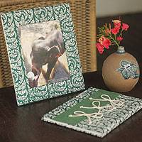 Saa paper desk set, 'New Correspondence' - Saa Paper Journal and Frame Desk Set