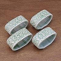 Celadon ceramic napkin rings, 'New Growth' (set of 4) - Celadon ceramic napkin rings (Set of 4)