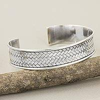Silver cuff bracelet, 'Ultimate Achievement'