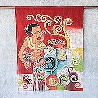 Cotton batik wall hanging, 'Lanna Girl' - Handcrafted Thai Batik Cotton Wall Hanging
