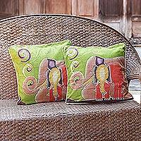 Cotton cushion covers, 'Elephant's Reminiscences' (pair) - Batik Cotton Cushion Covers (Pair)