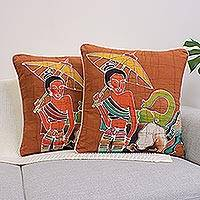 Cotton cushion covers, 'Grace and Power' (pair) - Cotton Cushion Covers (Pair)