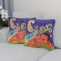 Cotton cushion covers, 'Dreaming of Birds' (pair) - Batik Cotton Cushion Covers (Pair)