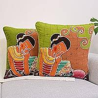 Cotton cushion covers, 'Feline Life' (pair) - Batik Cotton Cushion Covers (Pair)