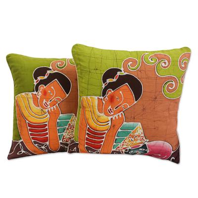 Cotton cushion covers, 'Feline Life' (pair) - Batik Cotton Cushion Covers (Pair)
