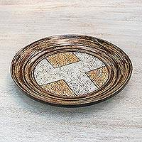 Eggshell mosaic centerpiece, 'Magnitude' - Handcrafted Eggshell and Bamboo Mosaic Plate
