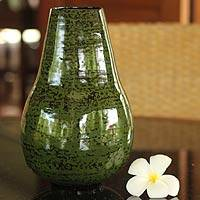 Lacquered bamboo vase, 'Chlorophyll' - Lacquered bamboo vase