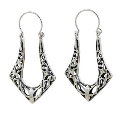 Sterling silver hoop earrings, 'Horseshoes' - Women's Sterling Silver Hoop Earrings