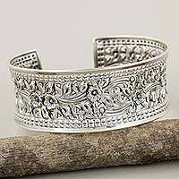 Sterling silver cuff bracelet, 'Floral Garden' - Fair Trade Sterling Silver Cuff Bracelet