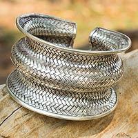 Silver cuff bracelet, 'Snake Skin'