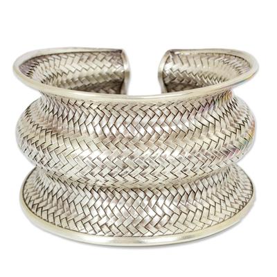 Silver cuff bracelet, 'Snake Skin' - 950 silver cuff bracelet