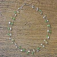 Pearl and citrine strand necklace, 'Ocean Art' - Fair Trade Pearl and Peridot Necklace