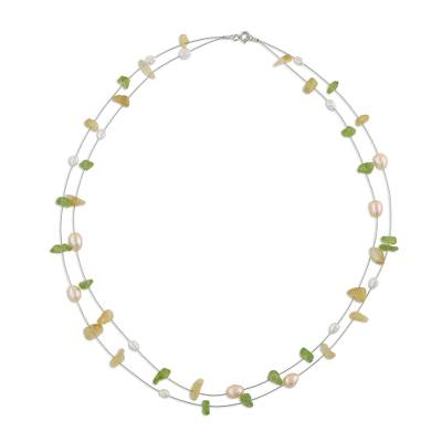 Fair Trade Pearl and Peridot Necklace