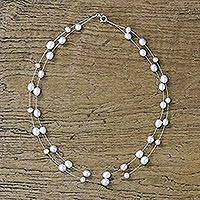 Pearl strand necklace, 'Moon Drops' - Handcrafted Pearl Droplet Strand Necklace