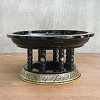 Lacquered wood offering centerpiece, 'Khantok' - Lacquered wood offering centerpiece