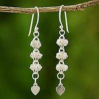 Sterling silver filigree earrings, 'Heart Fall' - Sterling silver filigree earrings