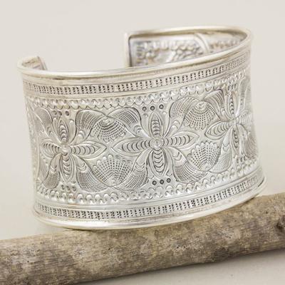 Sterling silver cuff bracelet, 'Moon Flower' - Floral Sterling Silver Cuff Bracelet