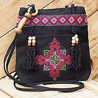 Cotton shoulder bag, 'Mountain Signals' - Hill Tribe Embroidered Cotton Shoulder Bag