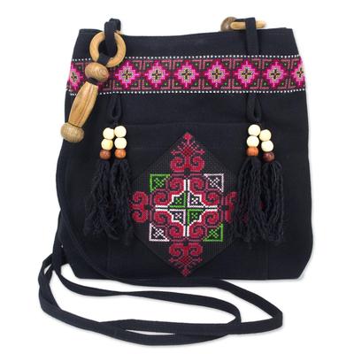 Novica Cotton shoulder bag, Night Colors - Embroidered Cotton Shoulder Bag
