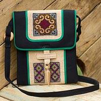 Hemp shoulder bag, 'Colors of the Night'