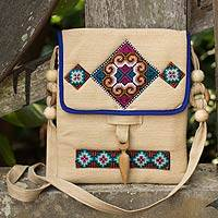 Hemp shoulder bag, 'Miracle Earth' - Unique Thai Hill Tribe Hemp Embroidered Handbag