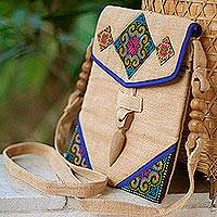 Hemp shoulder bag, 'Miracle Blue' - Fair Trade Women's Hill Tribe Hemp Shoulder Bag