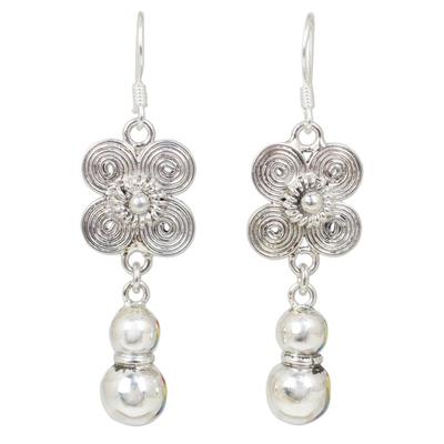 Sterling silver floral earrings, 'Siamese Beauty' - Sterling Silver Hill Tribe Earrings