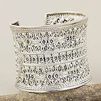Sterling silver cuff bracelet, 'Lanna Moonbeams'