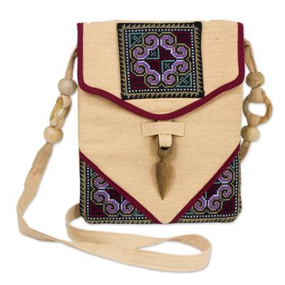 Novica Cotton handbag, Tribal Tradition - Cotton and Hemp Embroidered Sling Handbag