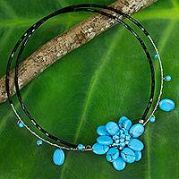 Beaded choker, 'Delicate in Blue' - Handmade Floral Turquoise Resin and Bead Choker