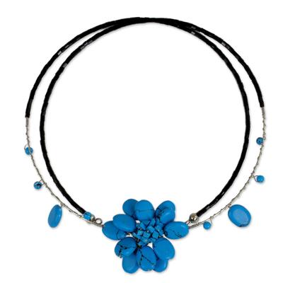 Unique Floral Turquoise Colored Choker