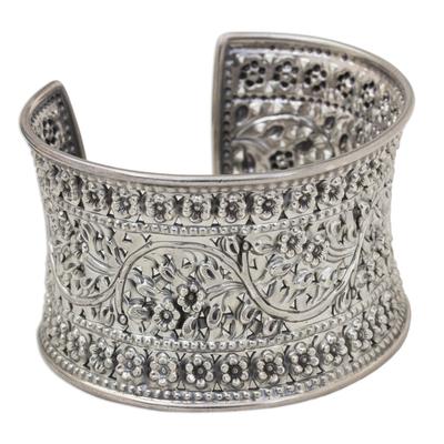 Sterling silver cuff bracelet, 'Moon Forest' - Sterling silver cuff bracelet