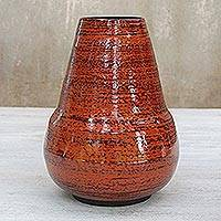 Lacquered bamboo vase, 'Lava' - Lacquered bamboo vase