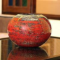 Lacquered bamboo pot, 'Cherry Dreams' - Lacquerware Bamboo Vase