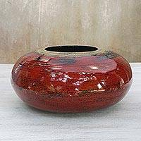 Lacquered bamboo pot, 'Mercury' - Lacquered bamboo pot