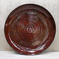 Lacquered bamboo plate, 'Ablaze' - Lacquered bamboo plate