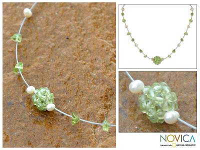 Pearl and peridot pendant necklace, 'Spring Sparkles' - Handcrafted Pearl and Peridot Necklace from Thailand