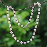 Pearl and garnet strand necklace, 'Sea of Love' - Pearl and garnet strand necklace