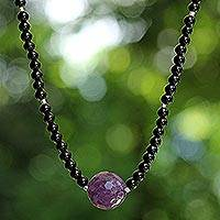 Onyx and amethyst beaded necklace, 'Brilliant'