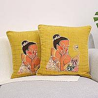 Cotton cushion covers, 'Vivacious' (pair) - Cotton cushion covers (Pair)