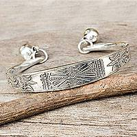 Silver cuff bracelet, 'Hill Tribe Balance'