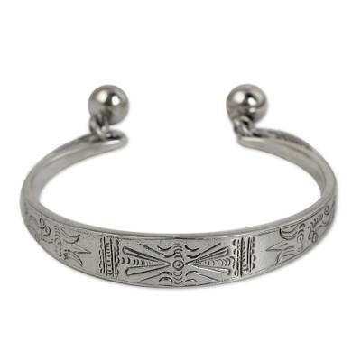 Sterling silver cuff bracelet, 'Hill Tribe Balance' - Hill Tribe Sterling Silver Cuff Bracelet
