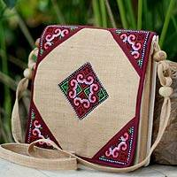 Hemp shoulder bag, 'Chiang Kong' - Hand Crafted Hill Tribe Embroidered Hemp Shoulder Bag