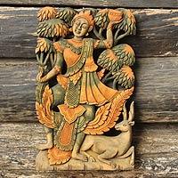 Teak relief panel, 'Dancing Deva'